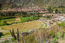 Aerial View Of Village Ollantaytambo, Sacred Valley Of Incas, Peru