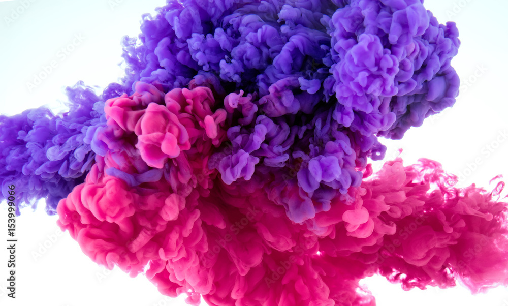 Fototapety, obrazy: ink color splash in water - mix background