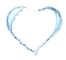 Heart Made Of Water On White..