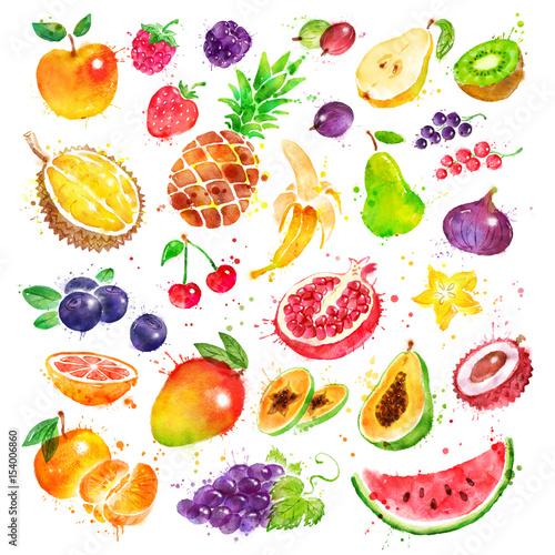 Foto op Aluminium Vruchten Hand drawn watercolor set of fruit