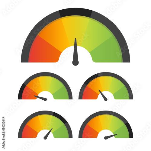 Fotografie, Obraz  Customer satisfaction meter speedometer set. Vector illustration