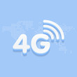 4G fast internet 3d sign in blue background and dotted world map vector illustration