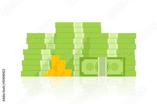 Fotografía  Big pile of money vector illustration, heap of cash flat cartoon style