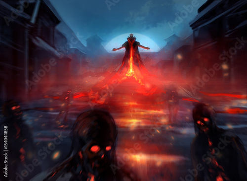 Illustration of a demon lord summoning evil zombie forces with fire effects and blurry mist Poster Mural XXL
