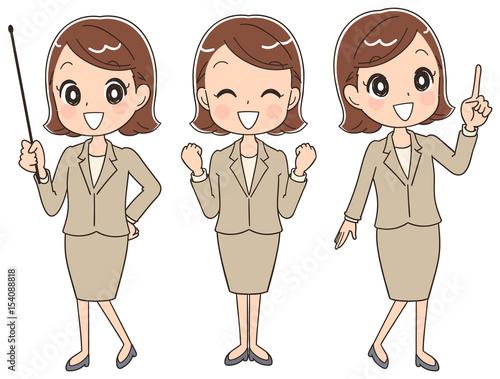 Fotografía  様々なポーズのスーツ姿の女性(セット)