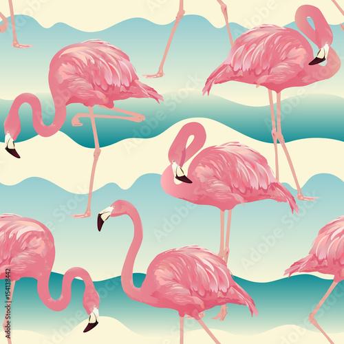 Canvas Prints Flamingo Bird Tropical Bird Flamingo Background - Seamless pattern vector