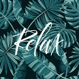 Tropical background of palm leaves. Seamless tropical palm leaves backdrop. Paradise Hand Letteing sign. Not trace. - 154146645