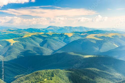 Poster Bleu Landscape with green hills