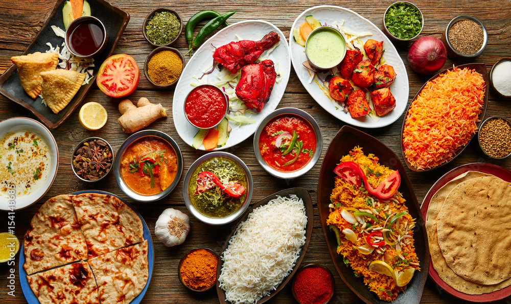 Fototapety, obrazy: Assorted Indian recipes food various