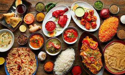 Fototapeta Do gastronomi Assorted Indian recipes food various