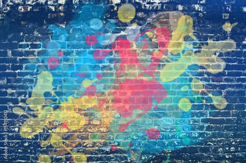 Autocollant pour porte Graffiti Paint splash on brick wall