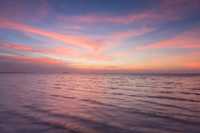 Beautiful After Sunet Sky Over Seacoast Skyline, Natural Landscape Background