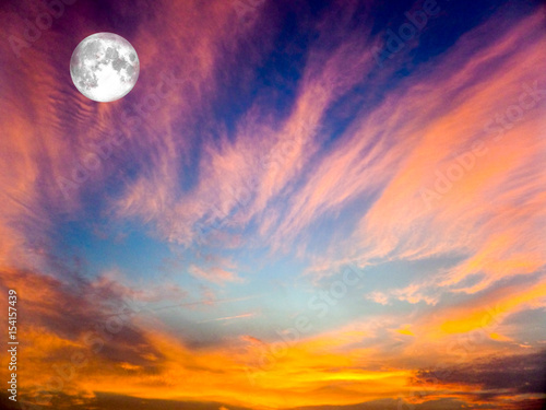 Spoed Foto op Canvas Oranje eclat Eternal Flame,full moon on the sky and blur cloud