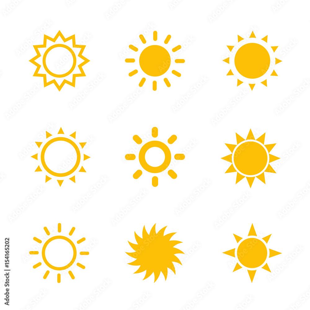 Fototapety, obrazy: sun icons set on white
