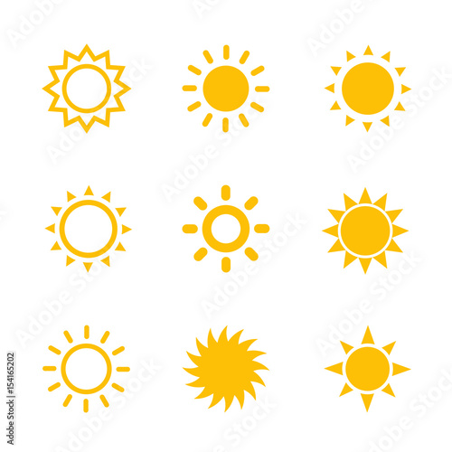 sun icons set on white