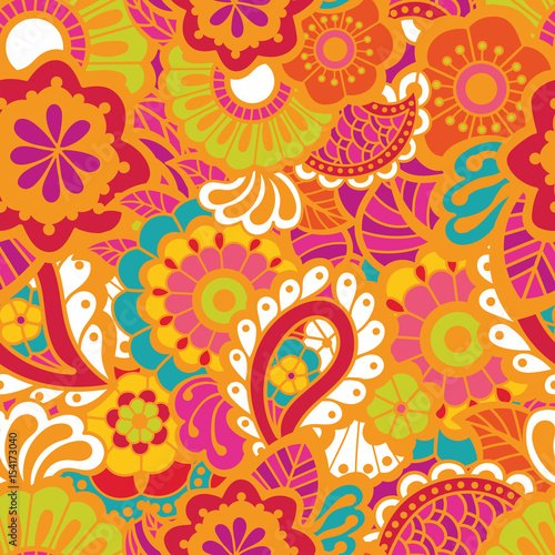 Cotton fabric Paisley seamless colorful pattern