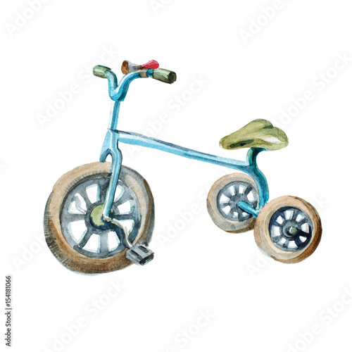 In de dag Fiets Watercolor illustration. kid's blue tricycle isolated on white background.
