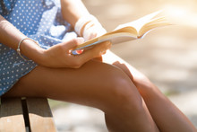 A Girl In A Short Dress With Tanned Legs Reading A Book In The Park