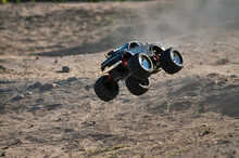 Rc Monster Truck Model With Wheels In Air