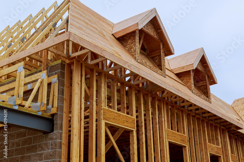New construction of a house Framed New Construction Canvas-taulu