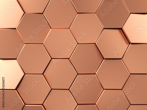 Fototapeta Rose Gold Hexagonal background. 3d rendering