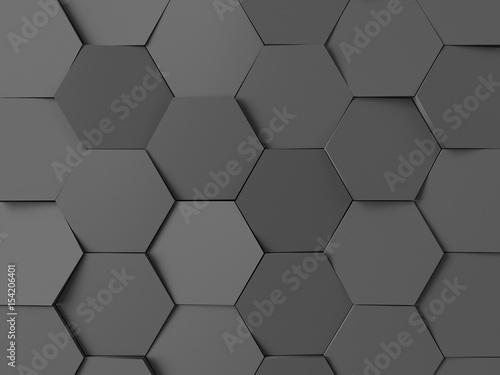 Hexagonal abstract background. Dark gray 3d rendering - 154206401