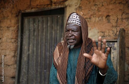 The leader of the displaced Fulani herdsmen Haruna Usman speaks