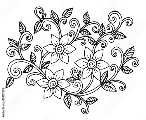 Flower Carpet In Magic Garden By Santy Doodle Floral Pattern Black And White Page For Coloring Book Very Interesting