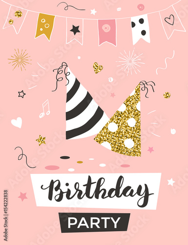 Fototapeta Birthday Invitation Template With Party Hats Greeting Card Vector Illustration