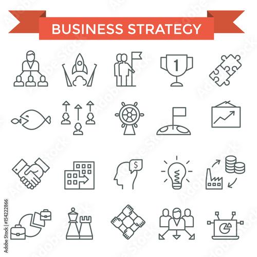 Pinturas sobre lienzo  Business strategy icons, thin line, flat design