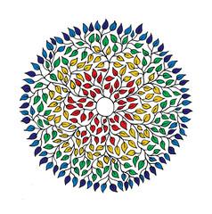 Panel Szklany Boho Mandala of 1000 leaves. Аrtistic background