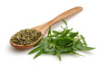 Dried and fresh thyme with wooden spoon