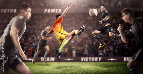 Fotografía  Brutal Soccer action on 3d sport arena