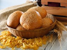 Sesame Bread On Wooden Background