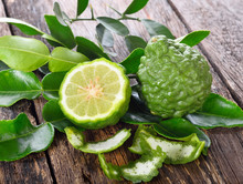 Fresh Bergamot On Wooden Backgroune