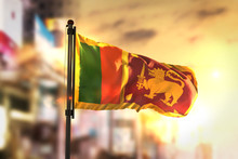 Sri Lanka Flag Against City Bl...