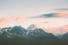 Sunset Mountains Peaks And Clo...
