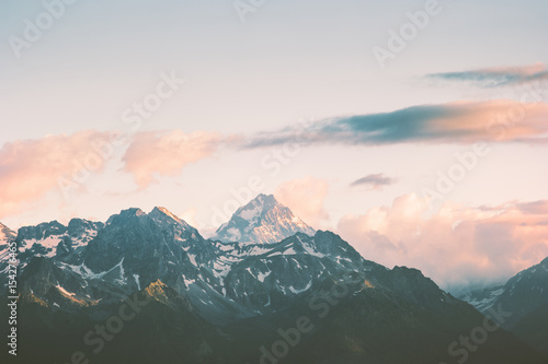 Fotografía  Sunset Mountains peaks and clouds Landscape Summer Travel wild nature scenic aerial view