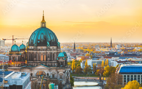 Photo  Berlin aerial view at sunset