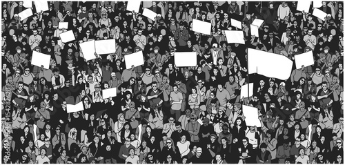Vászonkép  Illustration of crowd protesting for human rights with blank signs and flag
