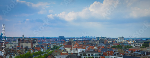 Foto op Canvas Brussel Aerial view of Brussels, Belgium with the Atomium building