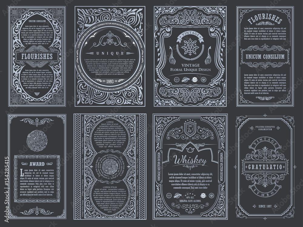 Fototapety, obrazy: Vintage set retro cards. Template greeting card wedding invitation. Line calligraphic frames