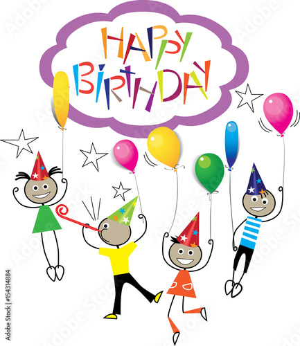 drawing image of stick figure kids on birthday, hand draw