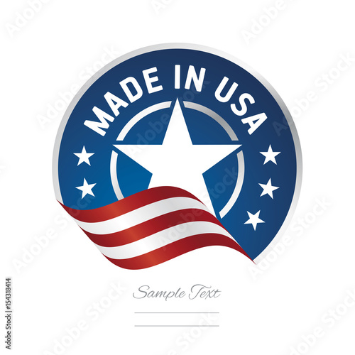 Photographie  Made in USA flag ribbon color label logo icon