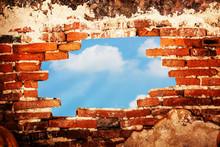 Broken Brick Wall With Sky Vie...