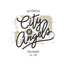 City Of Angels, Los Angeles, Aged Vintage Style Vector Typographic Print