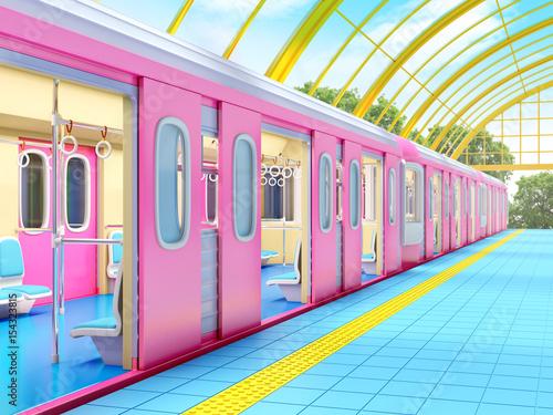 Foto auf AluDibond Bahnhof train on fantasy station