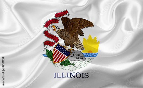 Photographie Flag of Illinois, USA with waving fabric texture