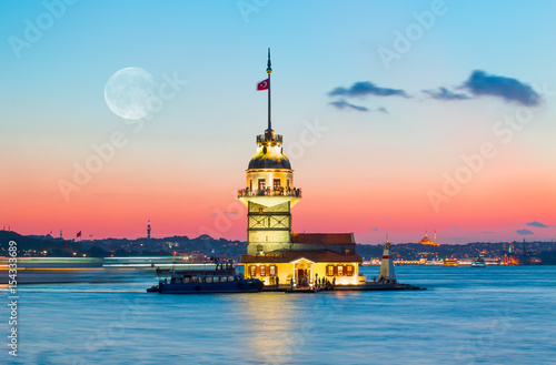 Aluminium Prints Turkey The Maiden's Tower in Istanbul-Turkey