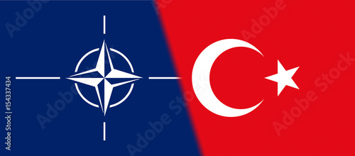 Flag of NATO and Turkey together Canvas Print